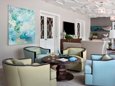 Transitional Family Room and Bar